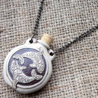 High fired orca yin yang bottle necklace angled
