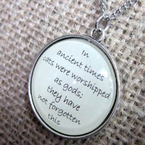 In Ancient Times Cats Were Worshipped As Gods Terry Pratchett quotation silver necklace pendant