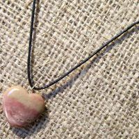 Jasper heart cord necklace