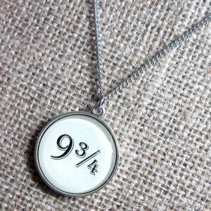 Kings Cross Station Platform 9 Harry Potter quotation silver necklace