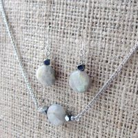 Labradorite faceted coin silver earring & necklace set angled