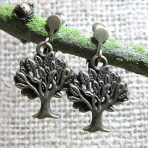Leafy tree bronze clip on earrings