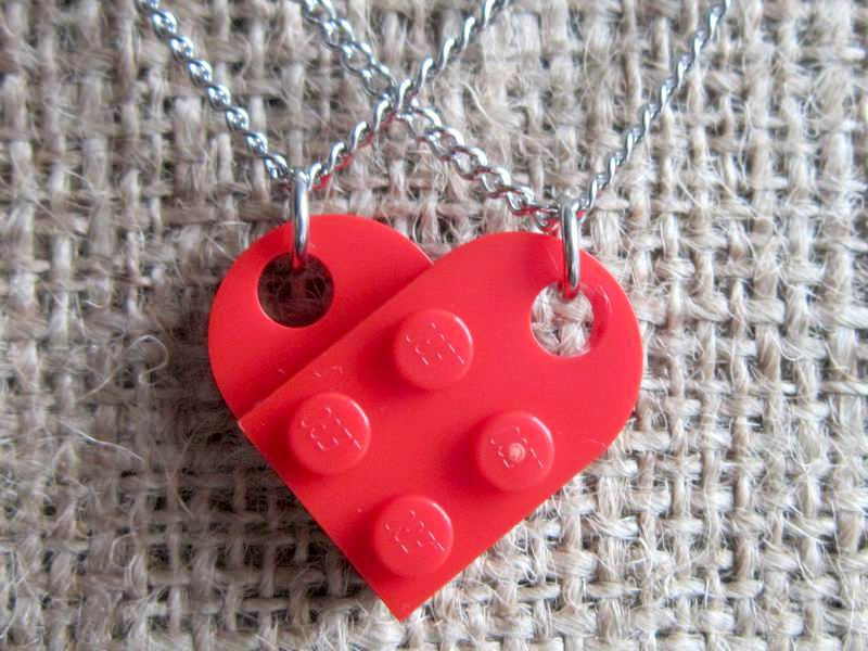 Lego red heart stainless steel sharing necklace pendant