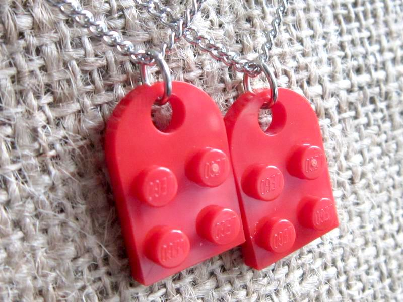 Lego red heart stainless steel sharing necklace pendants