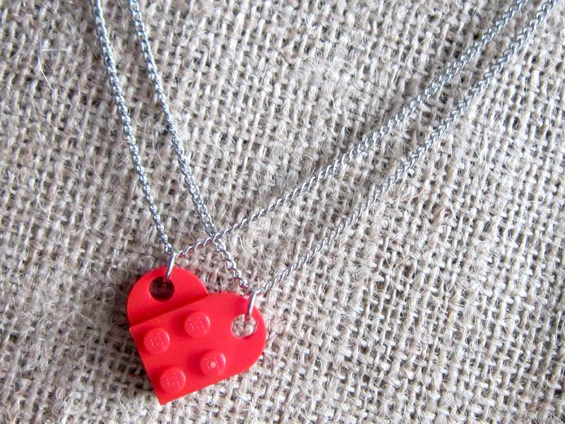 Lego red heart stainless steel sharing necklace