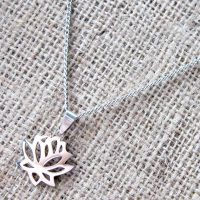 Lotus flower stainless steel necklace