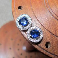 Micro pave round blue crystal silver earrings