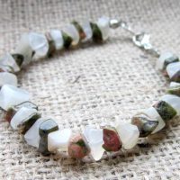 Moonstone & Unakite chip beaded bracelet front