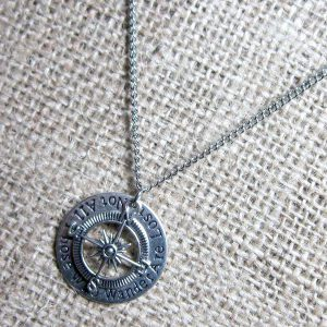 Not All Those Who Wander Are Lost compass silver necklace