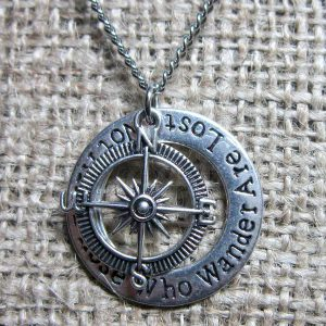 Not All Those Who Wander Are Lost compass silver necklace side