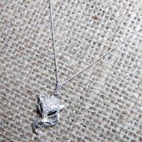 Pave crystal fox Sterling silver necklace