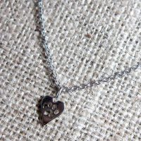 Pawprint cut out heart silver necklace
