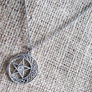 Pentagram crescent moon stainless steel necklace