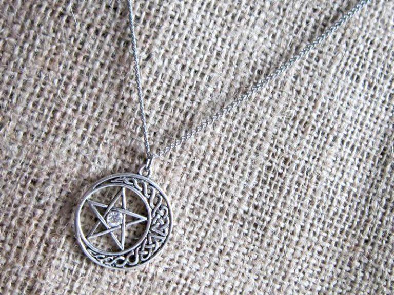 Pentagram crescent moon stainless steel necklace