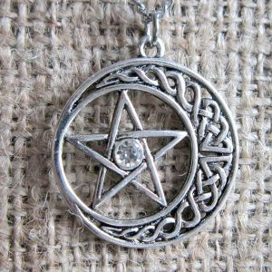 Pentagram crescent moon stainless steel necklace pendant