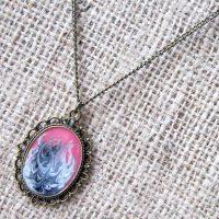 Pink black swirl bronze necklace
