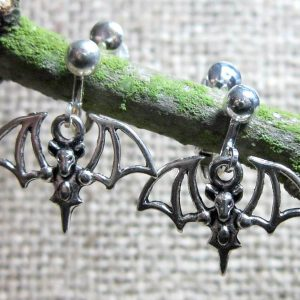 Pointy tailed bat silver clip on earrings