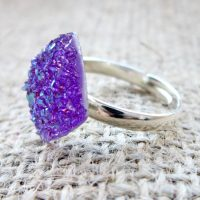 Purple crystal druzy adjustable ring side