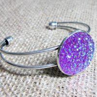 Purple druzy 25mm silver cuff bangle