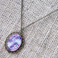 Purple pink white swirl bronze necklace