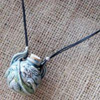 Raku glazed 3D dragon bottle cord necklace