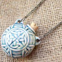 Raku glazed celtic knotwork bottle necklace angled