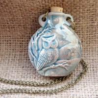 Raku glazed owl bottle necklace front