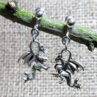 Rearing dragon silver clip on earrings display