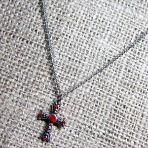 Red crystal silver cross necklace