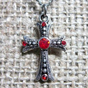 Red crystal silver cross necklace pendant