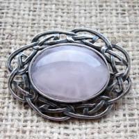 Rose Quartz Celtic knotwork Oval Brooch