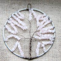 Rose Quartz beaded Tree of Life wall ornament