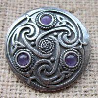 Round Celtic Amethyst Brooch