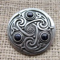 Round Celtic Blue Goldstone Brooch straight on