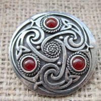 Round Celtic Carnelian Brooch