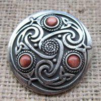 Round Celtic Goldstone Brooch