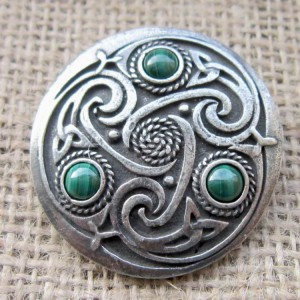Round Celtic Malachite Brooch