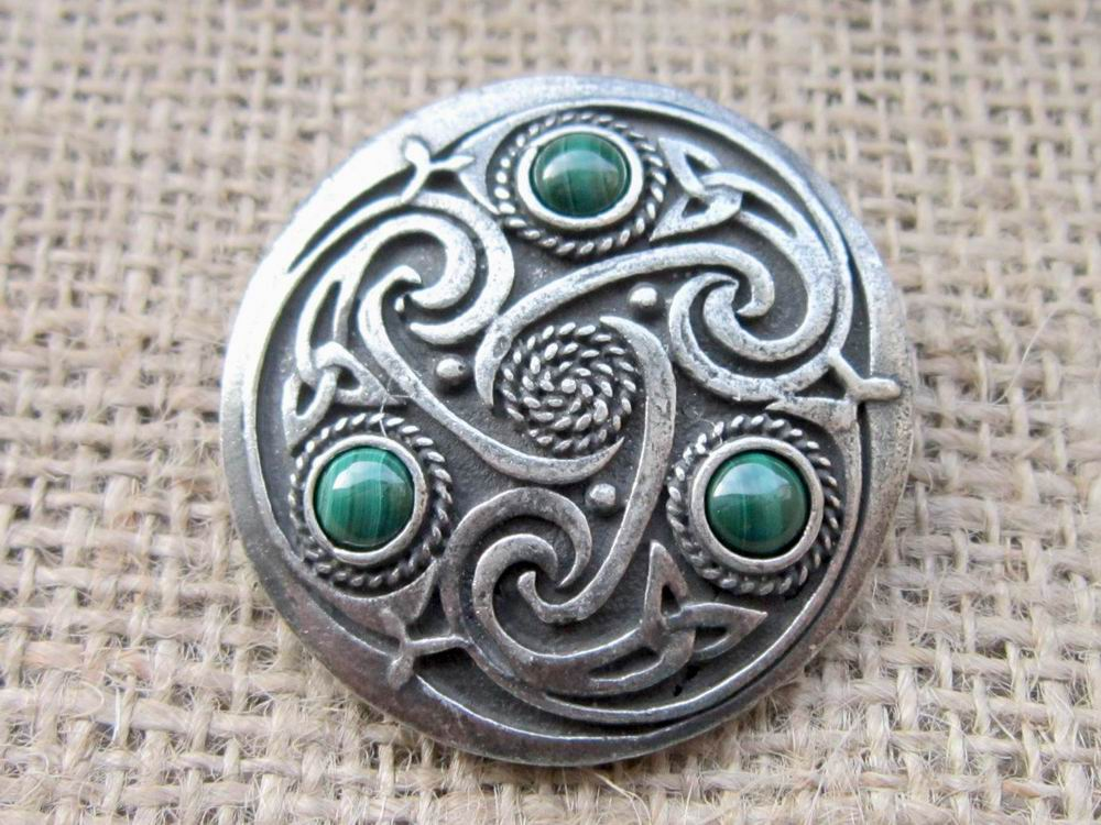 Round Celtic Malachite Brooch