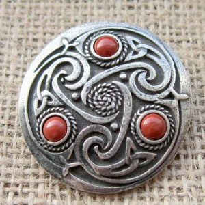 Round Celtic Red Jasper Brooch