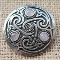 Round Celtic Rose Quartz Brooch