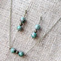 Ruby in Zoisite bronze earring & necklace set
