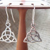 Silver Celtic triquetra earrings small on stand
