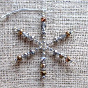 Silver and gold crystal beaded snowflake ornament 000