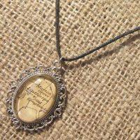 Silver antique Linthorpe map print cord necklace