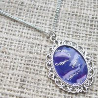 Silver purple swirl necklace angle