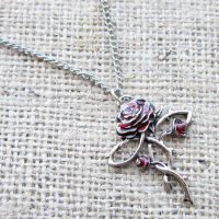 Silver red rose cross necklace GA16 Rosycroix  angled