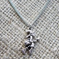 Silver witch on broomstick necklace straight