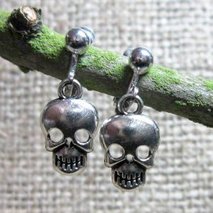 Simple human skull silver clip on earrings