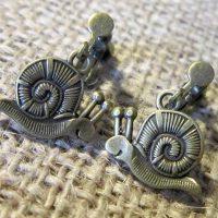 Snail bronze clip on earrings