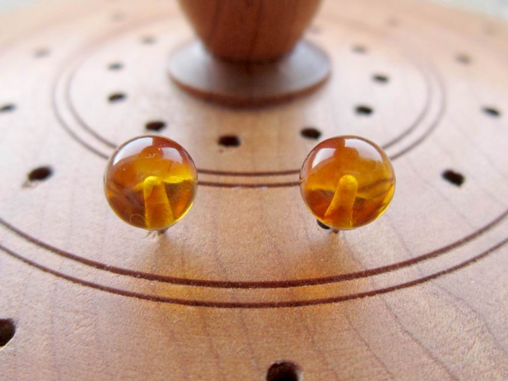 Sterling silver Amber gemstone ball stud earrings 6mm